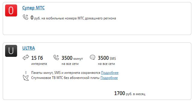 Тарифы МТС Белгородская область 2019