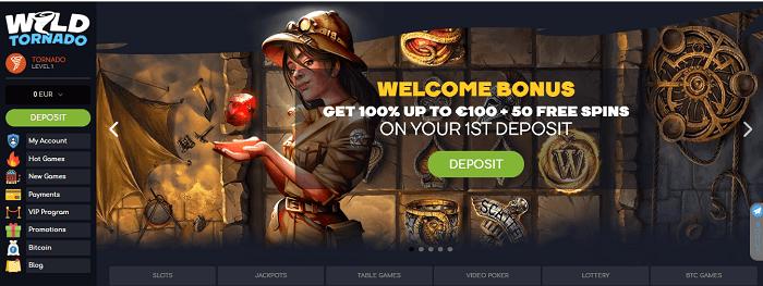 Онлайн казино Вилд Торнадо: получение бонусов